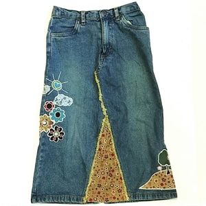 The Children's place embroidered long jean skirt